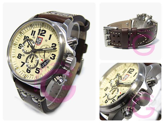 LUMINOX(Lumi敲门)1847≪T25表示≫场体育警报计时仪皮革皮带象牙人表手表
