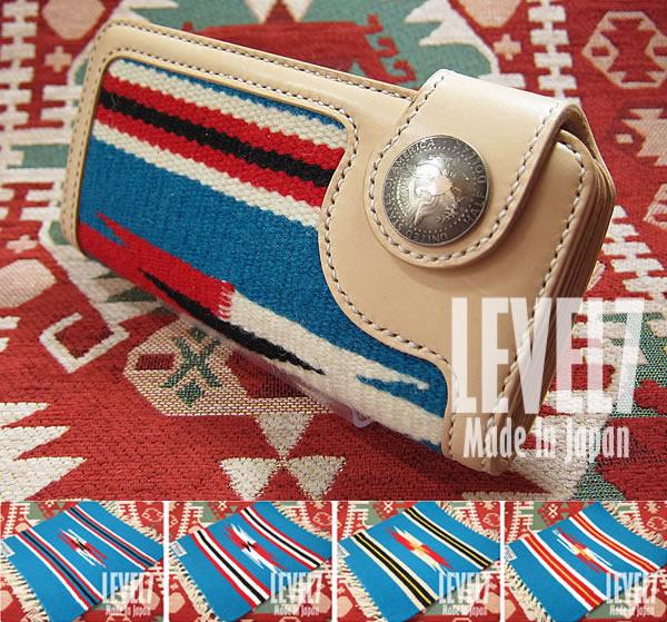 ORTEGA オルテガラグウォレット ブルー ターコイズ系 手縫い ユニセックス 財布 長財布