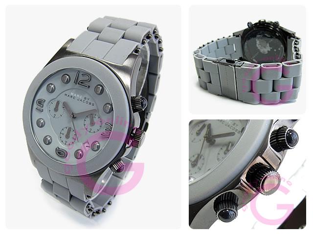 (标记 Marc jacobs) 的马克 · 雅各布 MARC MBM2566 皮尔斯计时橡胶带灰色女士手表手表