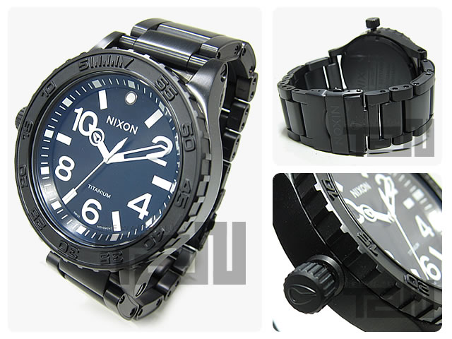 51-30 NIXON THE TI (Nixon) A351-001/A351001 300m waterproofing titanium material Ronda 513AIG6 movement deployment oar black men watch watch watch