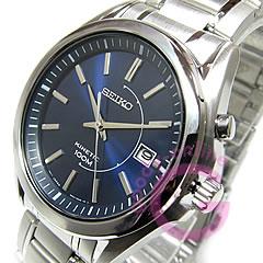 动力学精工 (Seiko) SKA521P1 / 动力学银金属带海军男装手表