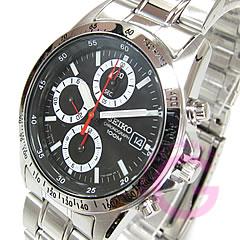 SEIKO (セイコー) SND371P クロノグラフ ステンレスベルト ブラック メンズウォッチ 腕時計