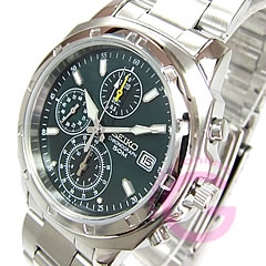 SEIKO (セイコー) SND411P クロノグラフ ステンレスベルト グリーン メンズウォッチ 腕時計