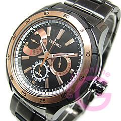 SEIKO(精工)SNT025P1 CRITERIA/kuraiteriamaruchifankushon IP黑色粉红黄金海外型号人表手表
