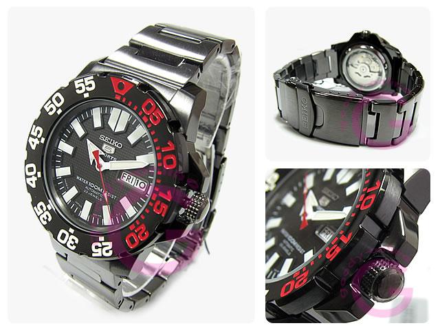 自动拧SEIKO(精工)SEIKO5/精工5体育活动SNZF53J1,并且是男子潜水员的型金属皮带黑色IP表手表