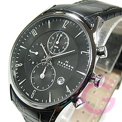 SKAGEN(sukagen)329XLSLB计时仪皮革皮带黑色人表手表