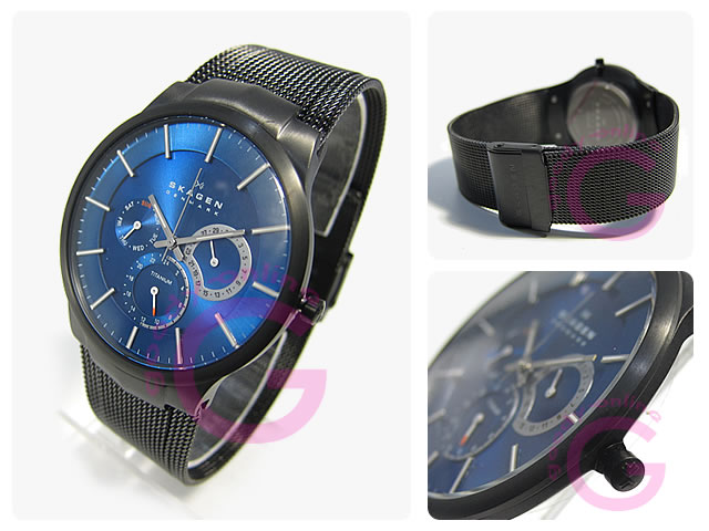 SKAGEN(sukagen)809XLTBN多功能蓝色人表手表