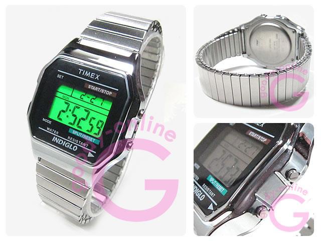 TIMEX (タイメックス) T78582 デジタル 蛇腹ベルト T78587のUS XLサイズベルト シルバー ユニセックスウォッチ 腕時計