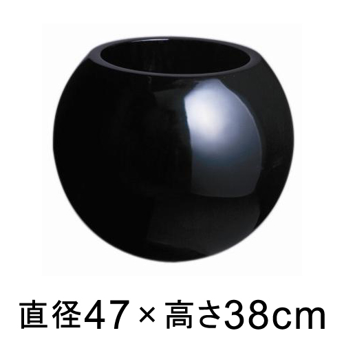 プラネット 47型 ブラック つや有 【メーカー直送・同梱不可・代引不可・返品不可】【ファイバーグラス鉢】
