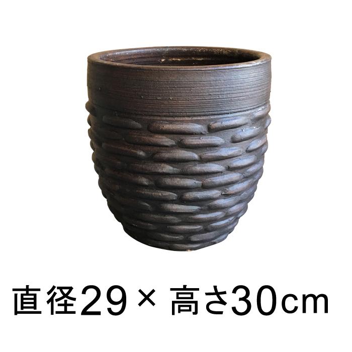 模様付 植木鉢 こげ茶系 M 29cm 13リットル
