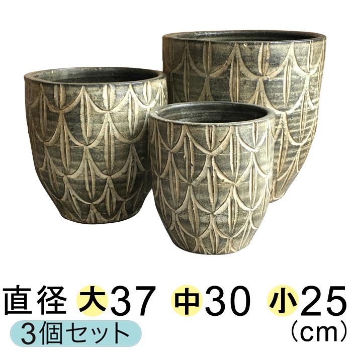 【大中小セットでお買い得】 模様付 丸深型 植木鉢 グリーン系 〔大中小3個セット〕 [of20]
