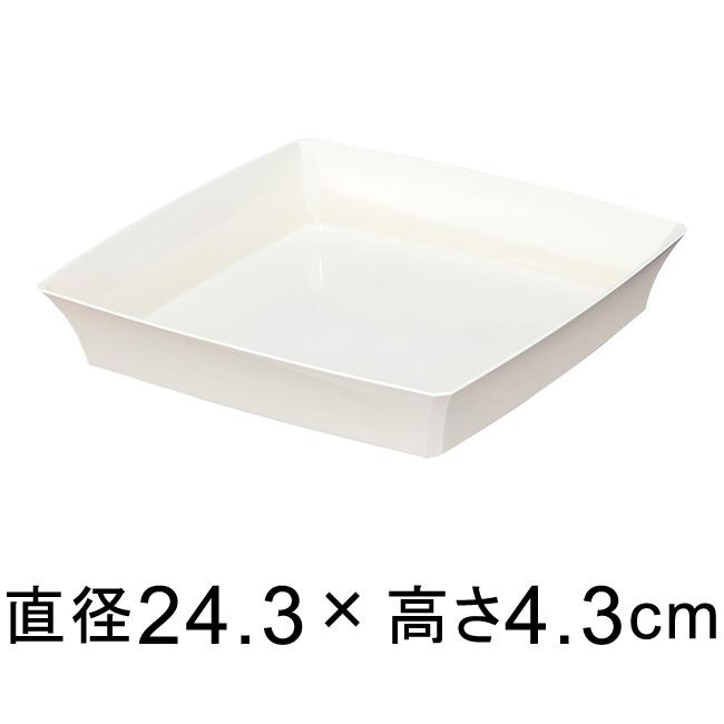 ついに再販開始 国内在庫 植木鉢 鉢 受け皿 四角 スクエア 白 受皿 ホワイト グラシアプレート 底直径が19.5cm以下の植木鉢 245型〔24.3cm〕 適合する鉢