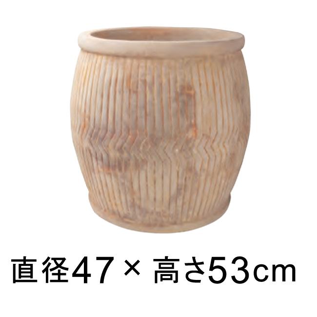 縦ライン 樽型 アンティーク 素焼き鉢 テラコッタ鉢 rv2141an-l 47cm 63リットル 【メーカー直送・日祝指定不可・同梱不可・代引不可・返品不可】
