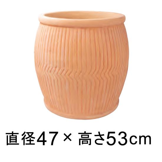 【メーカー直送・同梱不可・代引不可・返品不可】 縦ライン 樽型 素焼き鉢 テラコッタ鉢 rv2141tc-l 47cm 63リットル