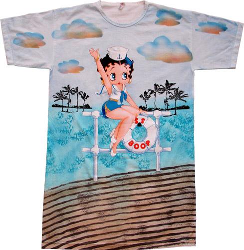 ベティー(ベティ) ブープ betty boopロング丈Tシャツだぼっとした形のTシャツ 大き目Tシャツナイトドレスマリンウエア柄