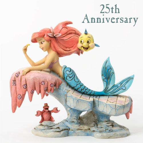 ディズニー ジム・ショアーリトルマーメイド 25周年記念! Dreaming Under The Sea Little Mermaid On Rock アリエル 人魚姫置物 フィギュア