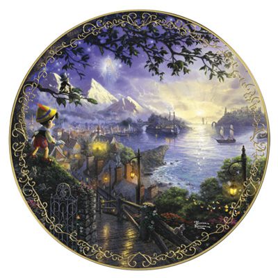 ピノキオ 絵皿トーマスキンケードディズニードリームコレクションPinocchio Wishes Upon A Star