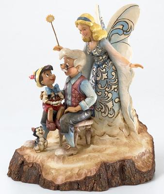 迪士尼健身房·shoapinokiojiminikuriketto Wood Carved Pinocchio Wishing Upon a Star陈设品花样滑冰