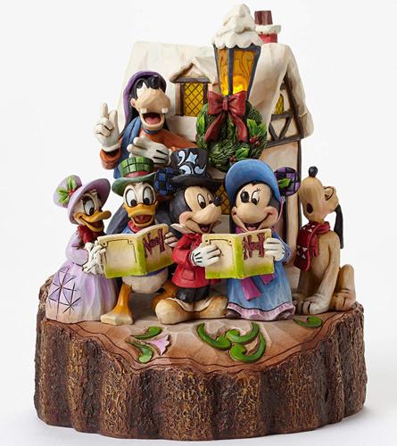 Disney Traditions Holiday HarmonyMickey Mouse & Gang Caroling Figurineミッキー ミニー ドナルドデイジー プルート グーフィークリスマスキャロルフィギュアミッキーマウス&ギャング キャロリン フィギュア木彫り風 置物