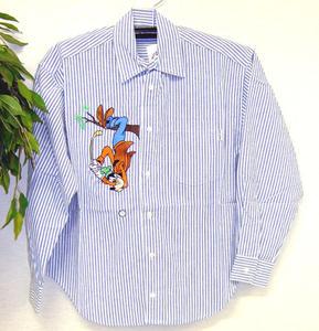 グーフィー ブルーストライプシャツ goofy Sサイズ
