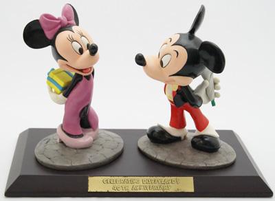ミッキーマウス ミニーマウスWDL 40周年記念 限定フィギュアサイン入り 置物 フィギュア