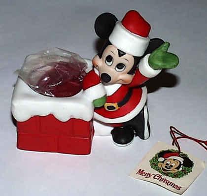 ミッキーマウス 煙突 サンタさん80年代 デッドストック陶器 置物 クリスマス フィギュア