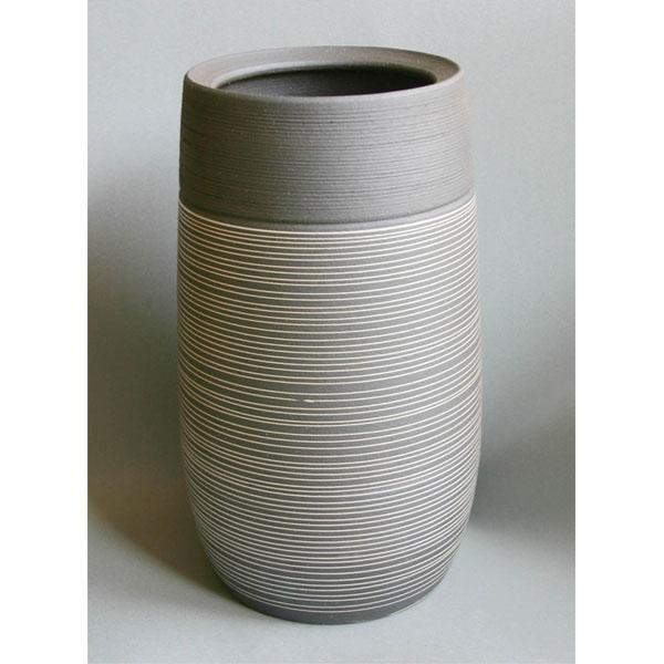 炭化砲弾型ストライプ 陶器 傘立て(傘立 傘たて かさたて アンブレラスタンド 日本製 陶器製 信楽焼き おしゃれ)送料込み おしゃれ 北欧 ギフト 送料無料