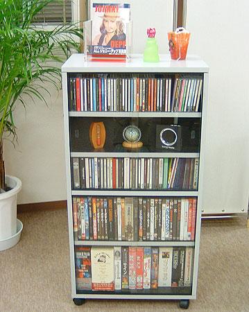 移動式CD・DVD・ビデオ収納ラック・ワイド型 送料込み おしゃれ 北欧 訳あり ギフト 送料無料