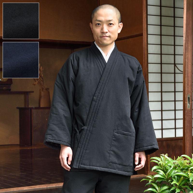 三層保温で暖かいTCキルト作務衣(黒・紺)(M-LL)