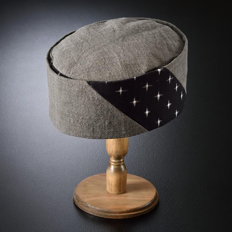 墨染久留米十字絣 利休帽