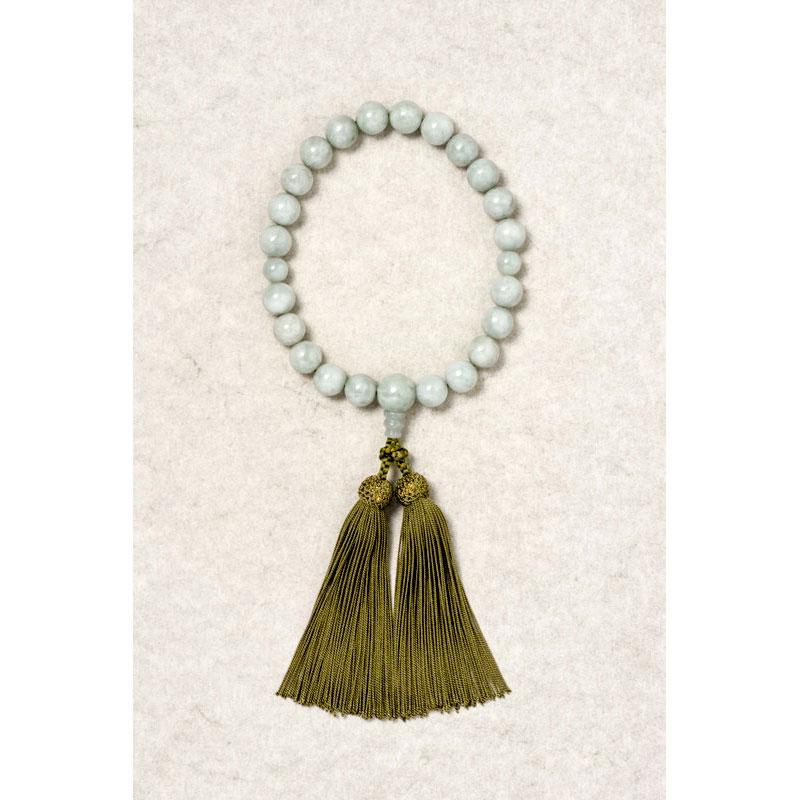 【数珠】宝石 無調色、ミャンマー産 希少性の高い何にも勝る神秘の宝石 本翡翠「ジェダイド」