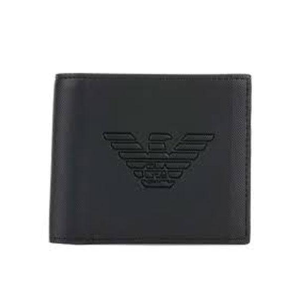 エンポリオアルマーニ 二つ折り財布 Y4R167 YFE6J 81072 メンズ ブラック 黒 EMPORIO ARMANI イーグルマーク 革 レザー 本革 さいふ ウォレット 二折小銭付