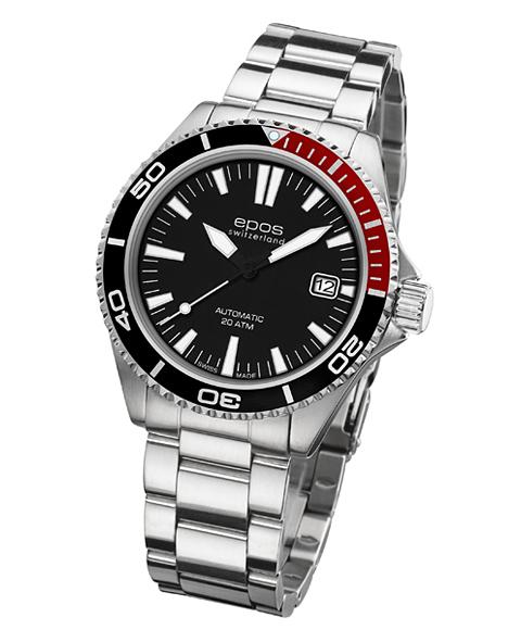 epos エポス Sportive 腕時計 3413BKRDM自動巻 ダイバーズ クロノグラフ