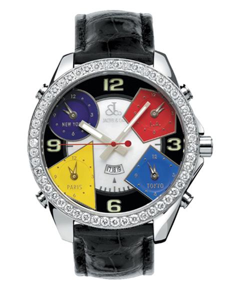 ジェイコブ JACOB&CO FIVE TIME ZONE 47mm JC-4D 腕時計 ファイブタイムゾーン ダイヤモンドベゼル
