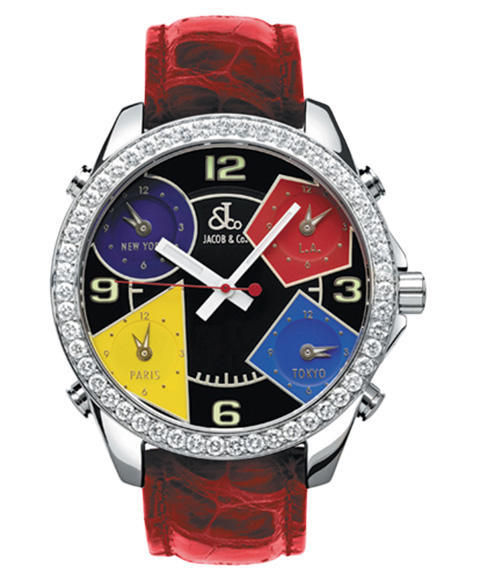 ジェイコブ JACOB&CO FIVE TIME ZONE 40mm JC-M11D 腕時計 ファイブタイムゾーン ダイヤモンドベゼル