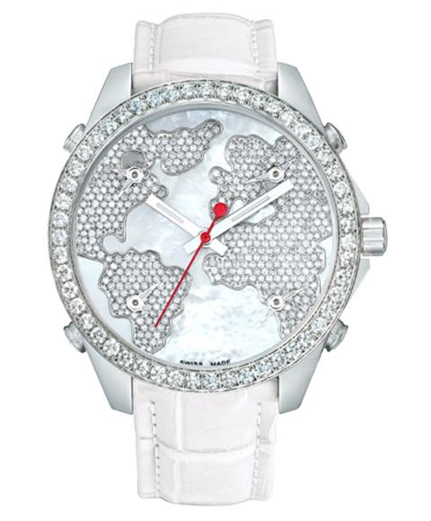 ジェイコブ JACOB&CO FIVE TIME ZONE 40mm JC-M47WWD 腕時計 ファイブタイムゾーン ダイヤモンドベゼル ホワイト系
