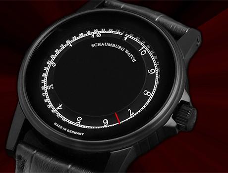 シャウボーグ ミスティック ブラック DISK MYSTIQUE-PVD メンズ 腕時計 自動巻 SCHAUMBURG クロノグラフ レザーストラップ