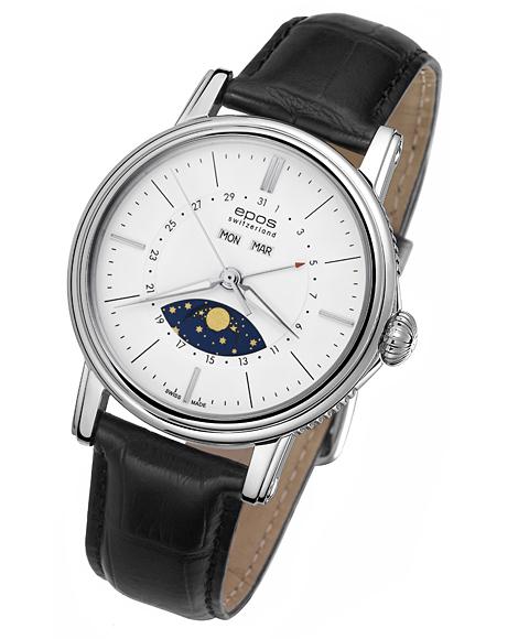 エポス epos エモーション カレンダー 腕時計 3391WH 自動巻 レザーストラップ