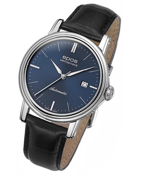 エポス epos エモーション デイト 腕時計 3390BL 自動巻 レザーストラップ ブルー系