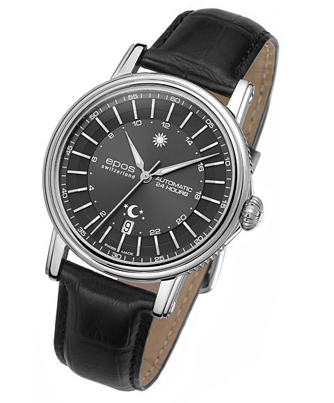 海外取寄せ(納期:約3~4ヶ月) エポス エモーション 24H 3390-24GY 腕時計 自動巻 epos レザーストラップ