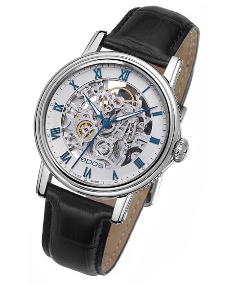 エポス epos エモーション スケルトン 腕時計 3390SKRWH 自動巻 レザーストラップ