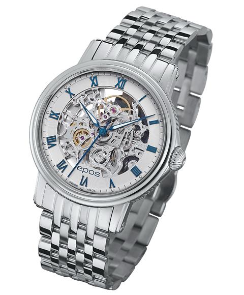 エポス エモーション スケルトン 腕時計 3390SKRWHM 自動巻 epos メタルブレス