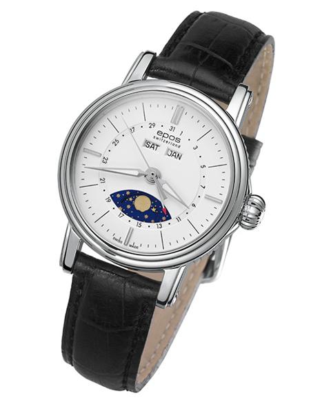 エポス エモーション 4391WH 自動巻 ムーンフェイズ 腕時計 レディース epos レザーストラップ