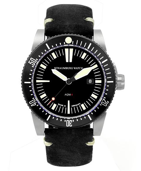 シャウボーグ AQM4 1/2 腕時計 メンズ SCHAUMBURG クロノグラフ 自動巻 レザーストラップ