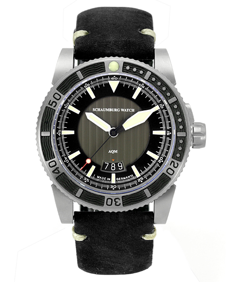 シャウボーグ AQM4 3D 腕時計 メンズ SCHAUMBURG 自動巻 レザーストラップ ブラウン系