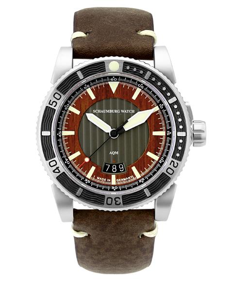 シャウボーグ AQM4 3D WOOD 腕時計 メンズ SCHAUMBURG 自動巻 レザーストラップ ブラウン系