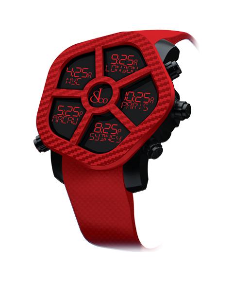 ジェイコブ ゴースト JC-GST-CBNRD カーボンカラーレッド 腕時計 メンズ JACOB&CO GHOST デジタル 5time zone
