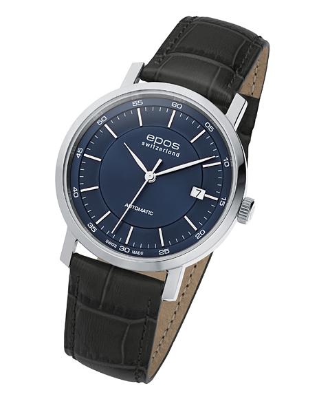 エポス オリジナーレ デイト 3387BL 腕時計 メンズ 自動巻 epos レザーストラップ ブルー系