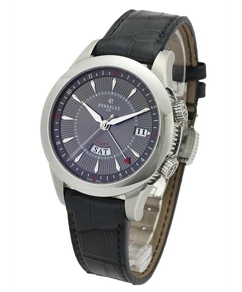アウトレット PERRELETペルレ メンズ腕時計 A1011-2自動巻き アラーム機能 OUTLET 自動巻