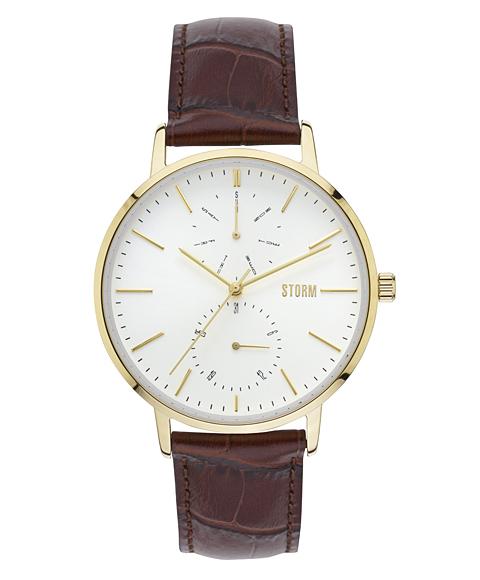 ストーム ロンドン 47307GD DENSTON 腕時計 メンズ STORM LONDON ゴールド レザーストラップ ブラウン系